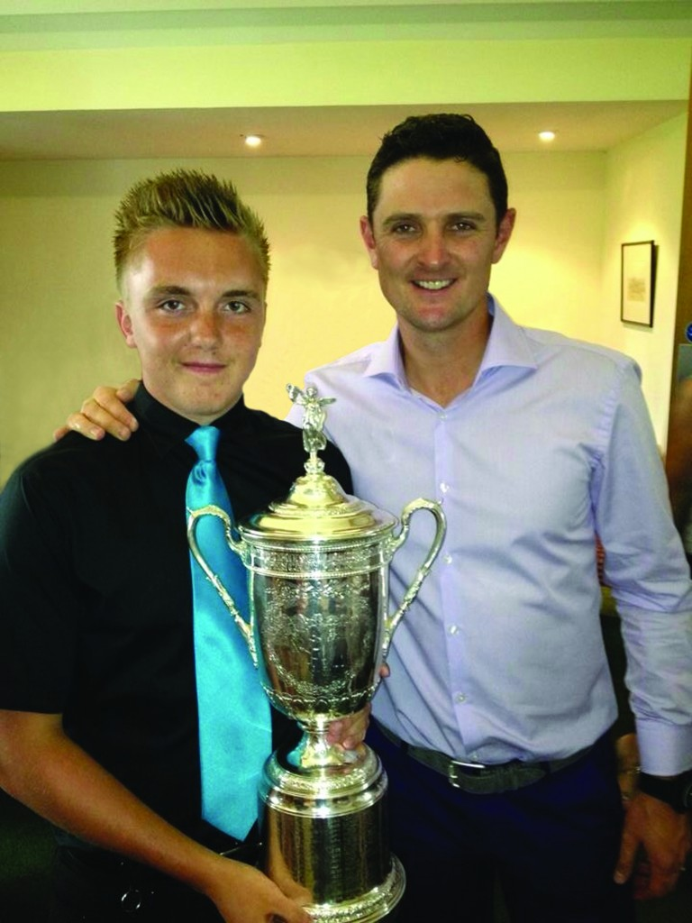 Picture (supplied separately) courtesy of Andy Pagden shows Justin Rose (Right) with North Hants Member Adam Copeland holding the US Open Trophy.