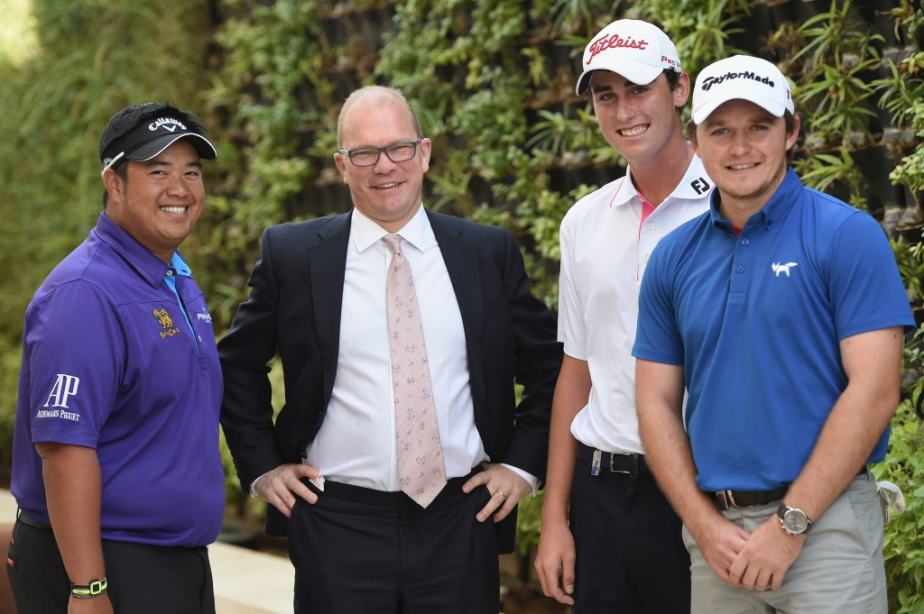 (L to R) Kiradech Aphibarnrat of Thailand, Guy Kinnings, Global Head of Golf IMG, Renato Paratore of Italy and Eddie Pepperell of England prior to the Abu Dhabi HSBC Golf Championship on January 13, 2015 in Abu Dhabi, United Arab Emirates.  (Photo by Ross Kinnaird/Getty Images)
