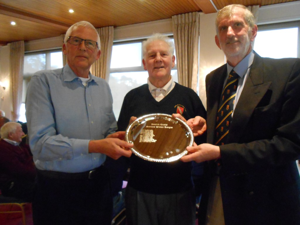 l to r, shows Graeme Laws, Patrick Curtis & Steve Martin for Graeme and Steve as winners of the 2015 Seniors Winter Pairs Salver.