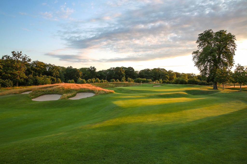 The approach to the green on the par 5 17th hole at The Grove.