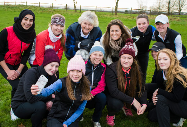 Golf legend Dame Laura Davies and Ladies European Tour player Annabel Dimmock dropped in at a training session for Surrey ambassadors and posed for photographs (image copyright Leaderboard Photography).