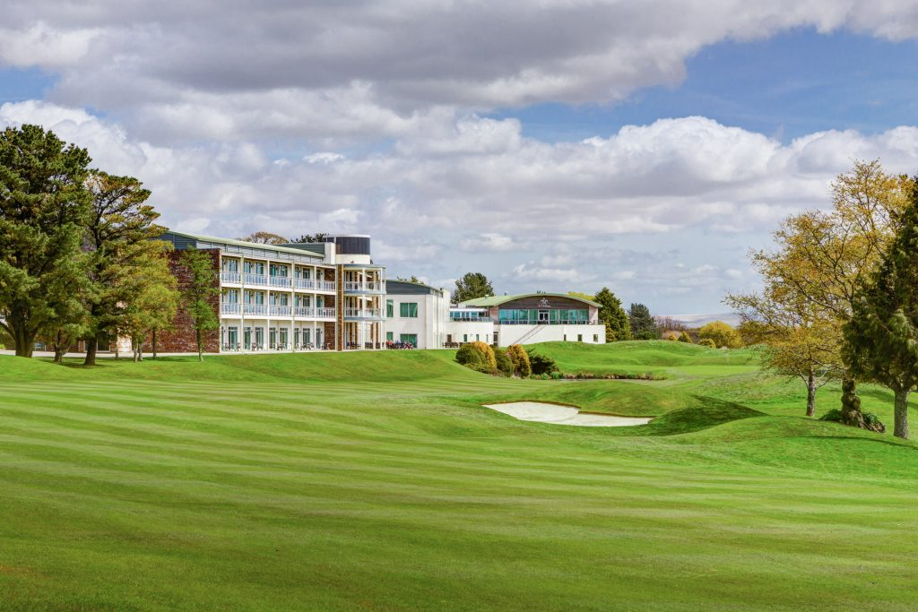 The 18th on the Nicklaus Signature Course, overlooking the hotel at St Mellion International Resort.