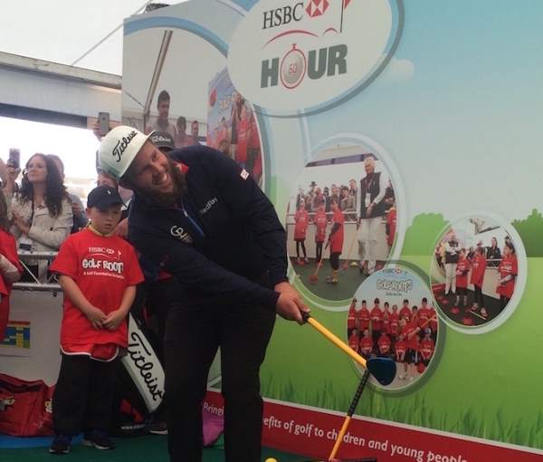 Andrew 'Beef' Johnson supporting the HSBC Golf Roots Trigolf progamme