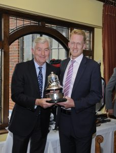 Chris Gane right being presented with Nelson Trophy by St G's Hill captain Stuart Letts 3rd win September 8th 2018