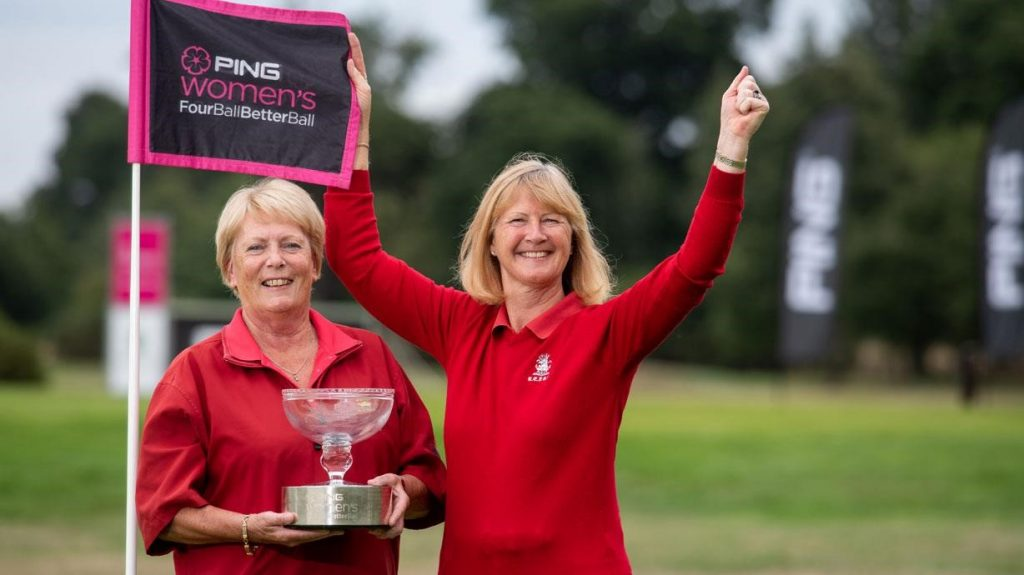 Pauline Nash (left) and Linda Woods of Royal Epping Forest Golf Club, the 2018 PING women's fourball betterball champions (Image copyright Leaderboard Photography).