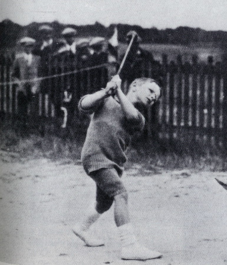 A young Laddie Lucas honing his skills.