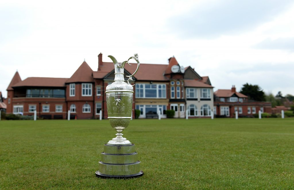 The Claret Jug pictured in front of the clubhouse at Royal Liverpool Golf Club's Hoylake course
