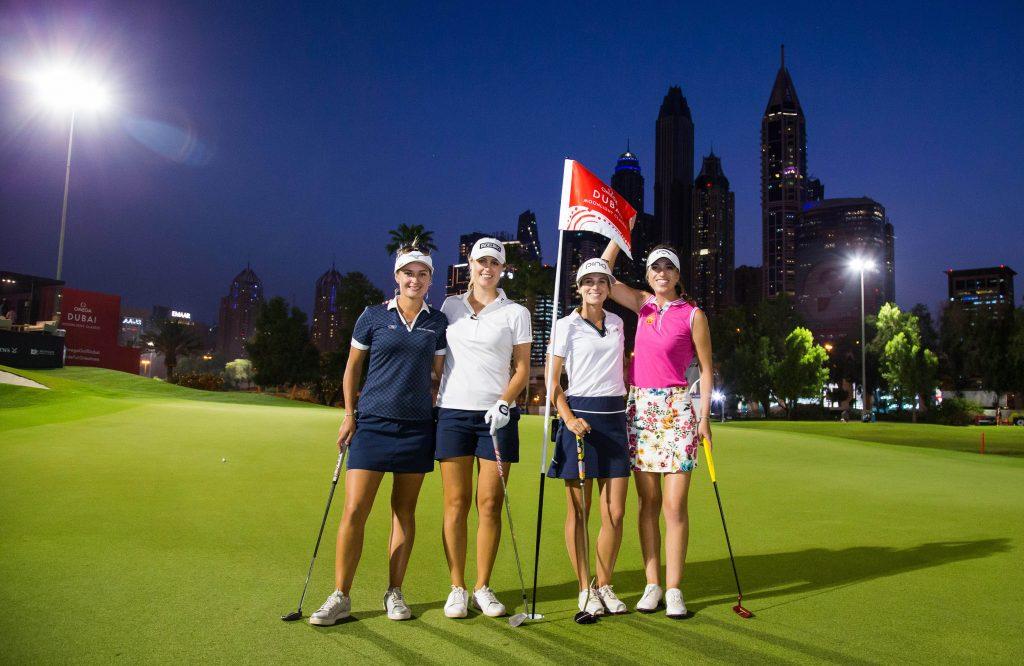 Amy Boulden Camilla Lennarth, Noemi Jimenez and Silvia Banon before the first Omega Moonlight Classic at Dubai's Emirates Golf Club