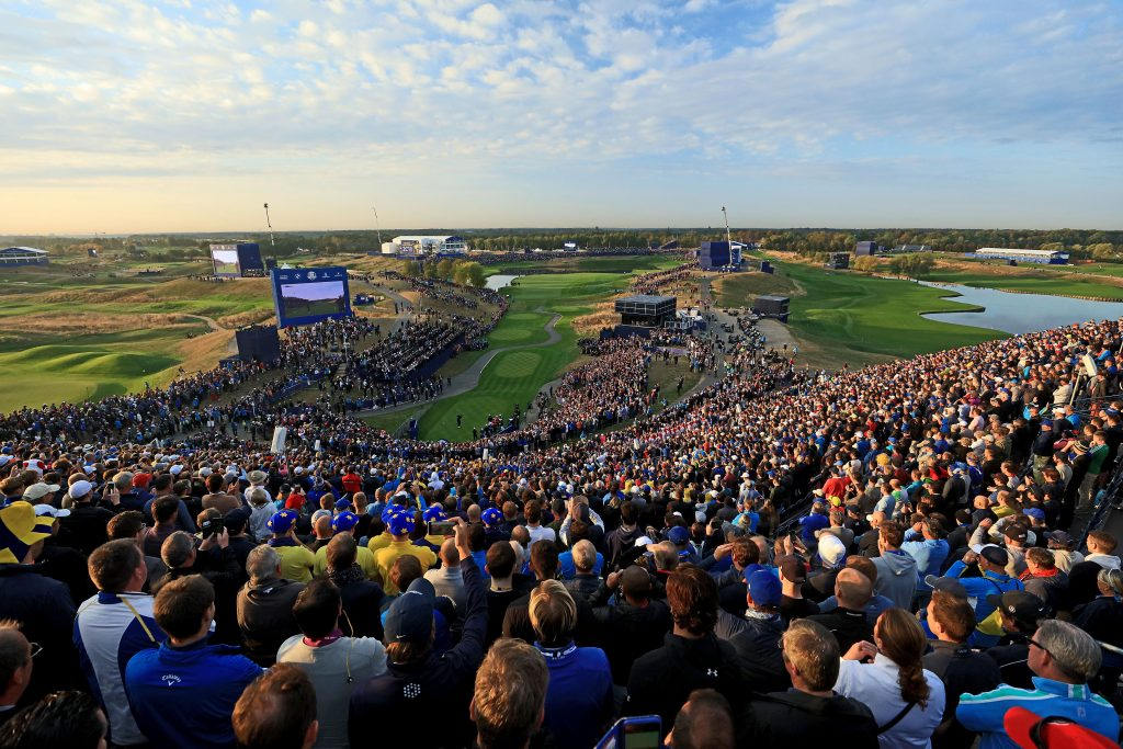 Fans packed around a tee during the 2018 Ryder Cup at Le Golf National, Paris