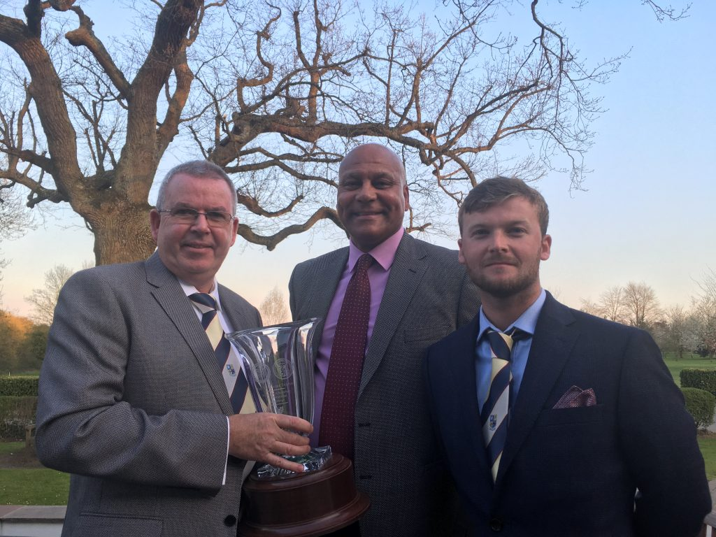 Teamwork Trophy 2019 Shirley Park GC L2R mgr Steve Murphy, OS sales director Les Lawrence and PGA Pro Mark Brailey April 11th 2019