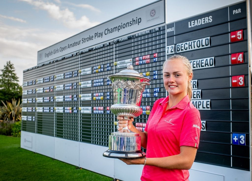 The 2019 English Girls Amateur Champion Marie Bechtold, from Germany's St Leon Rot Golf Club