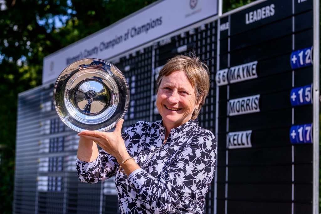 Somerset Amanda Mayne, from Saltford Golf Club, the 2019 English Senior Women's County Champion of Champions