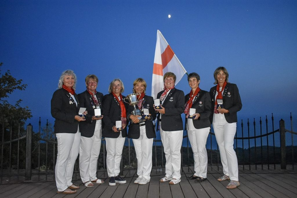 England's 2019 European Seniors Ladies' Team Champions team with the trophy at Bulgaria's BlackSeaRama Golf Club
