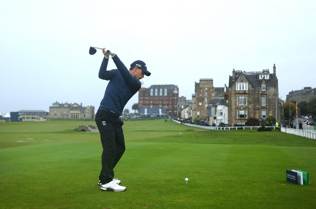 Matthew Jordan playing the 18th on St Andrews Old Course in the second round of the Alfred Dunhill LInks,