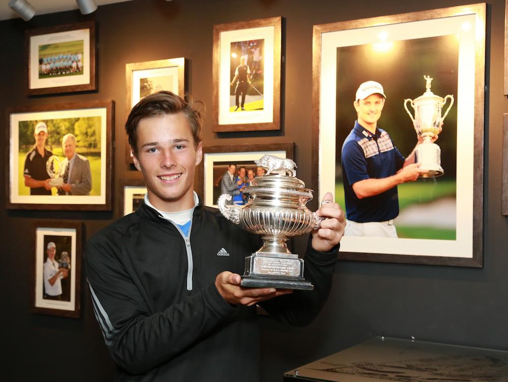2016 Hampshire Hog winner Matthew Jordan at North Hants Golf Club, the home of Justin Rose