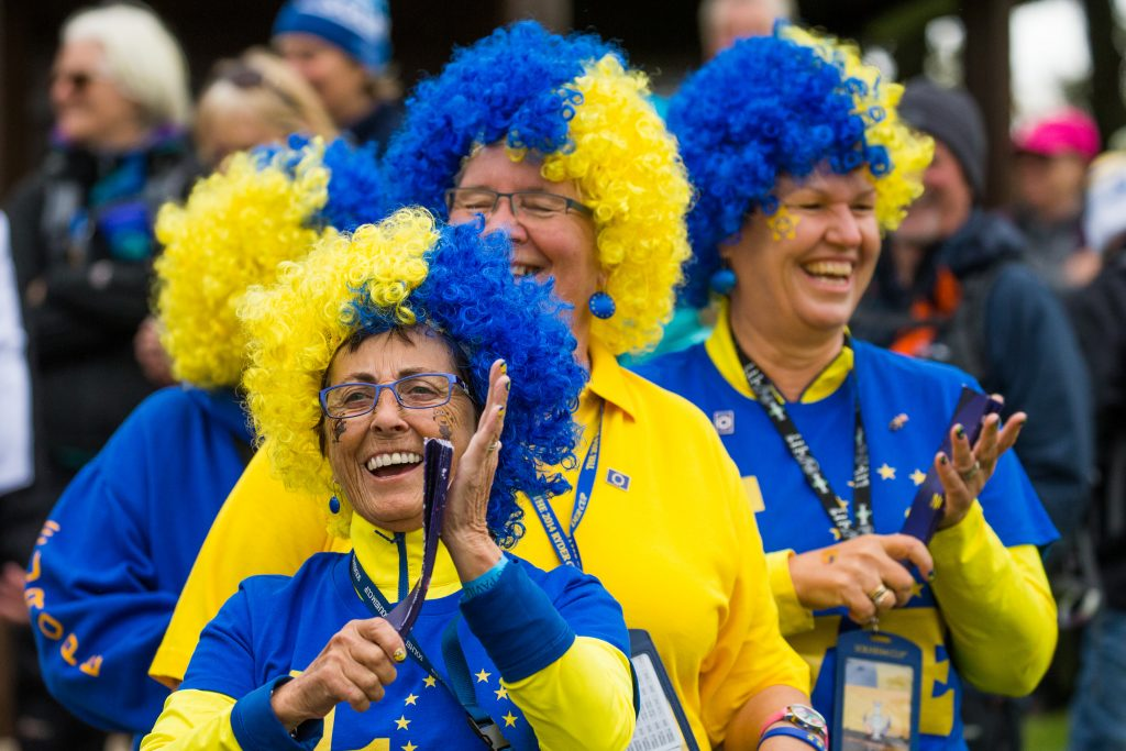European fans at one of the Solheim Cup practice days
