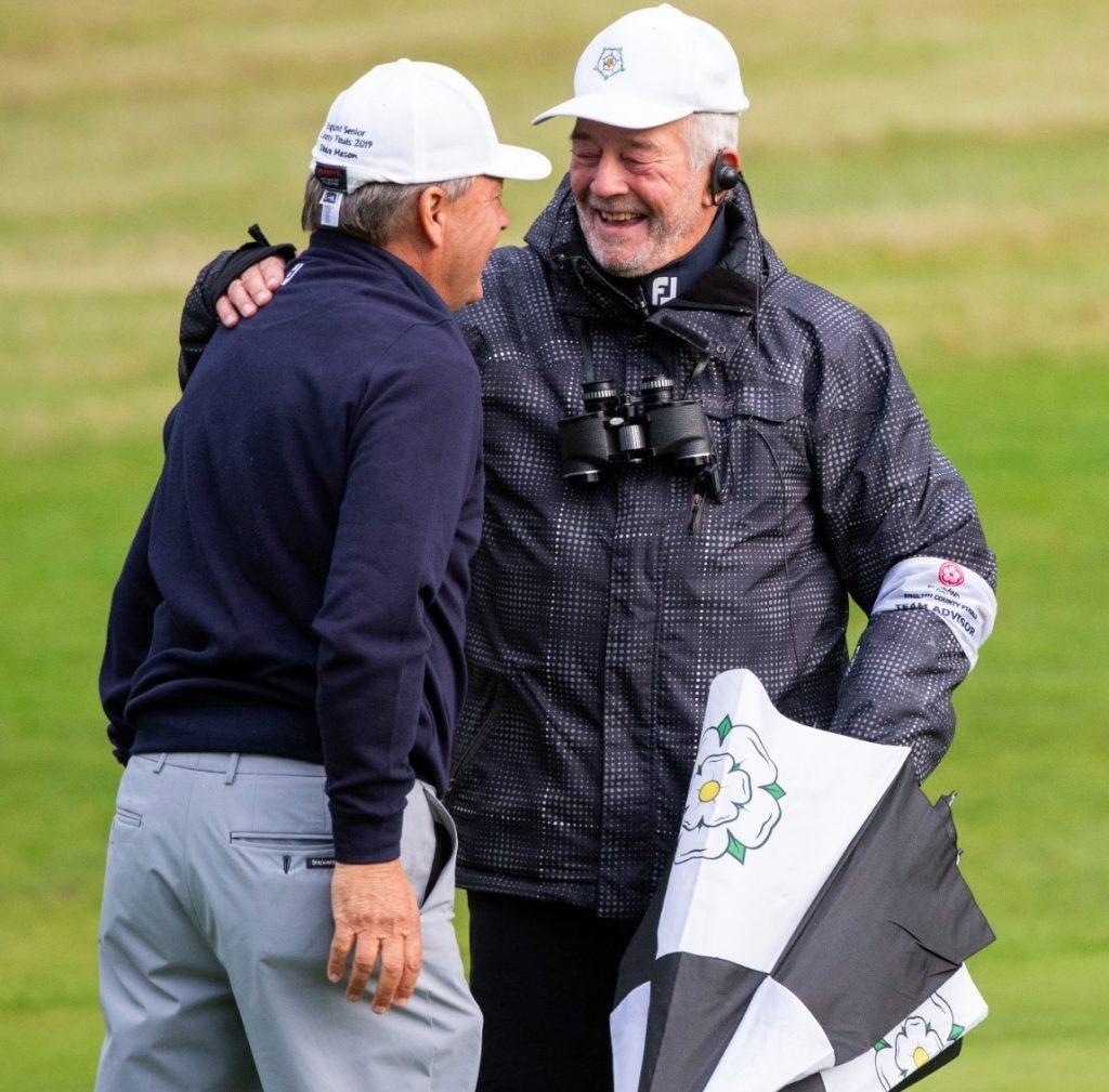 Yorkshire Seniors captain John Grimbleby (right) with Steve Mason