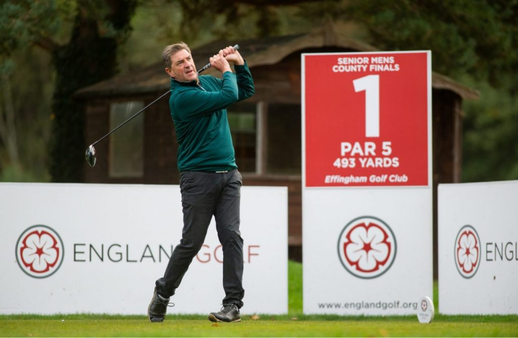 Sussex's Martin King at the 2019 English Senior Men's County Finals.