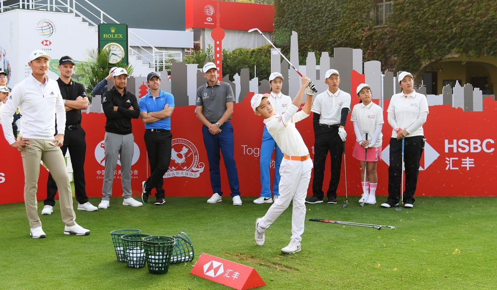 Tour stars including Rory McIlory meet members of the CGA-HSBC China Junior Golf Program