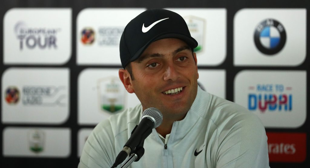 Francesco Molinari talking to reporters at the 2019 Italian Open