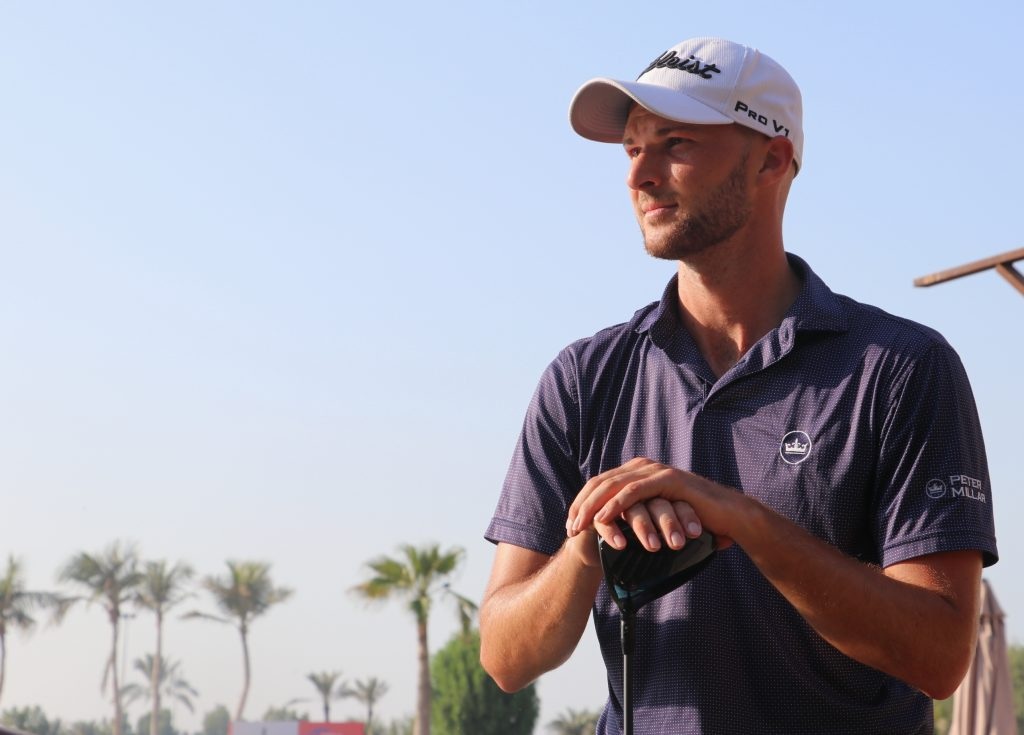 Switzerland's Marco Iten playing in the first round of the 2019 Ras Al Khaimah Open on the MENA Tour