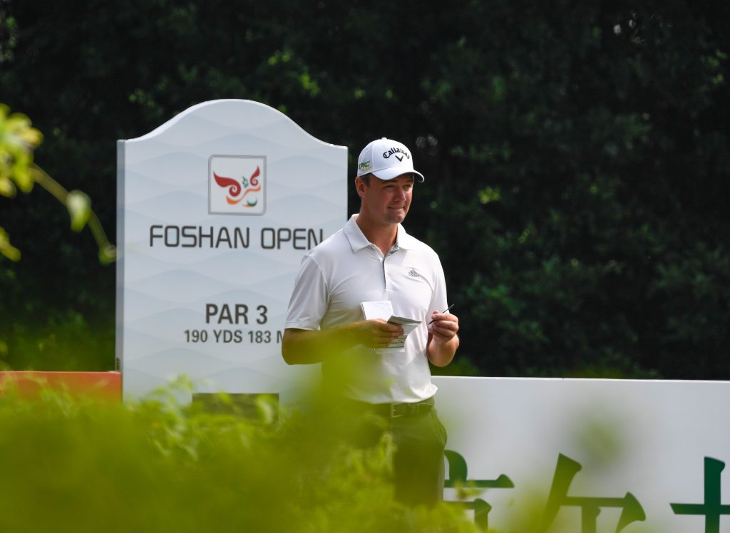 Ben Stow playing in the first round of the 2019 Foshan Open