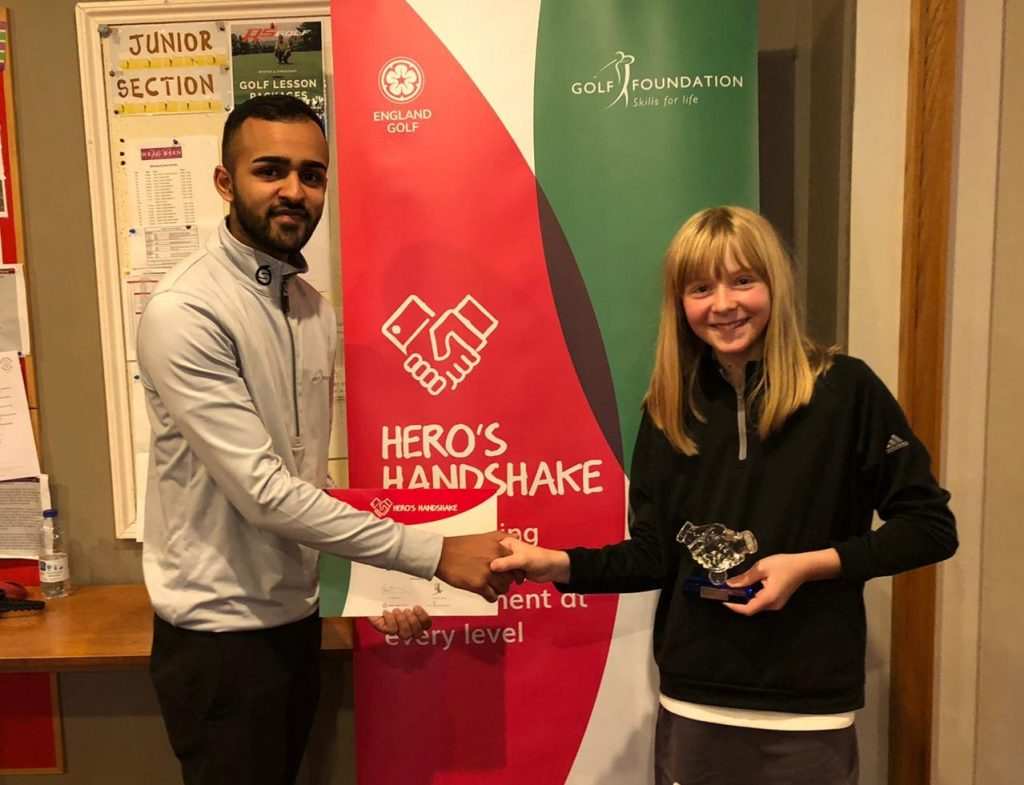 Hero Handshake winner Ellie Webster from Wrag Barn Golf Club