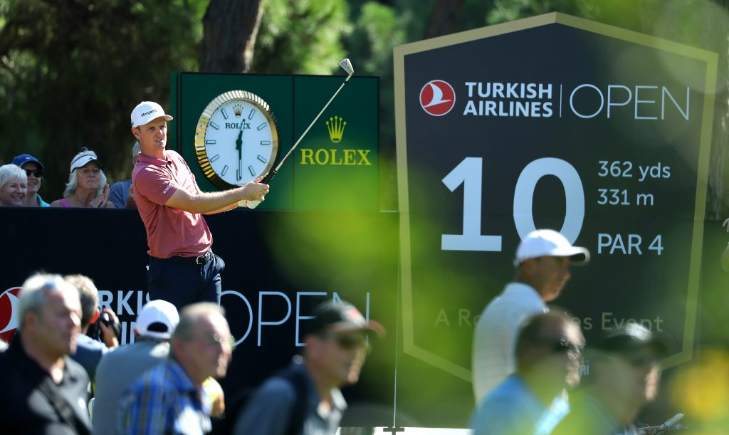 Justin Rose, who won a play-off to defend his Turkish Airlines Open title in 2018