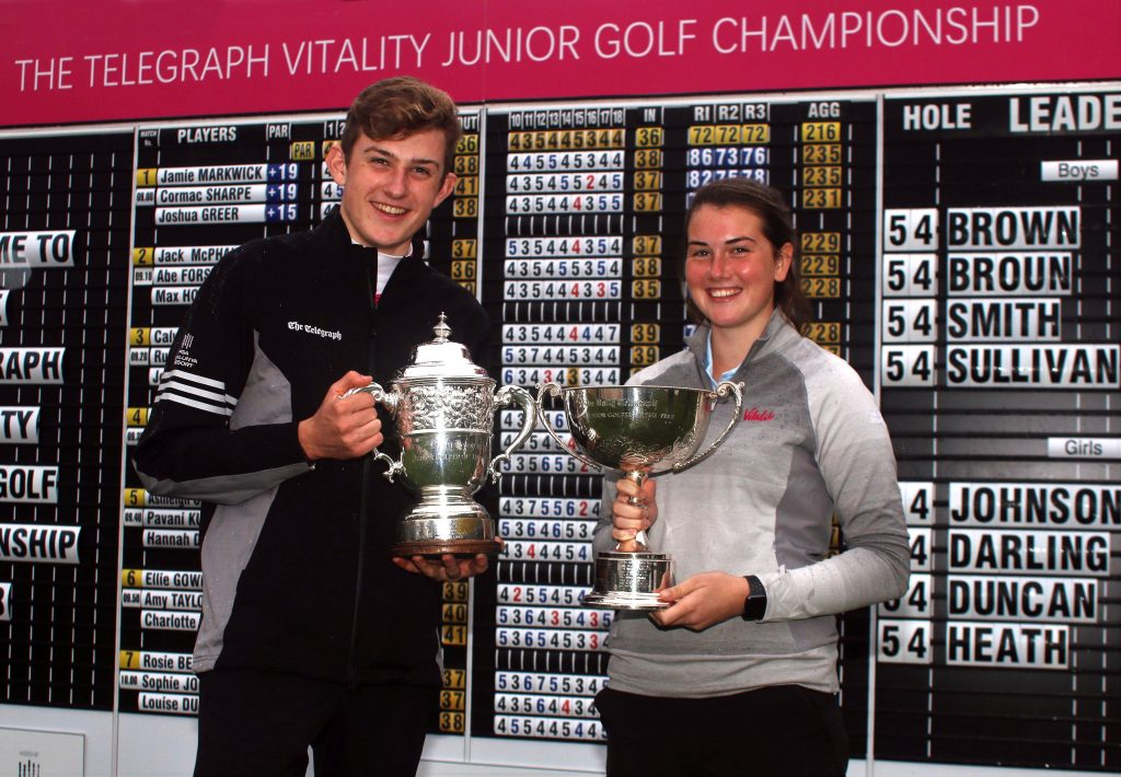 2018 Telegraph Junior Championship winners Barclay Brown (Hallamshire GC) and Enville's Sophie Johnson