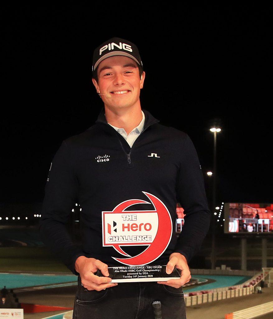 Hero Challenge winner Viktor Hovland at Abu Dhabi's Yas Marina Circuit