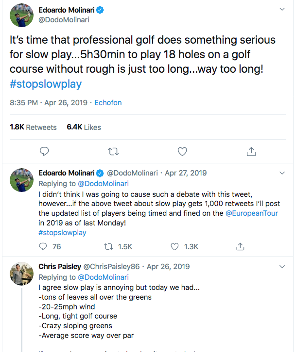 Edoardo Molinari's first tweet on slow play on Twitter