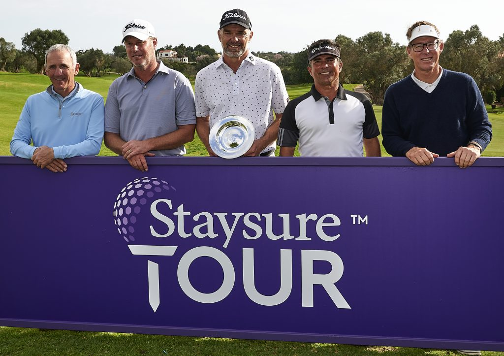 Winner MICHAEL LONG (centre) with the other four graduates at the Staysure Tour Qualifying School
