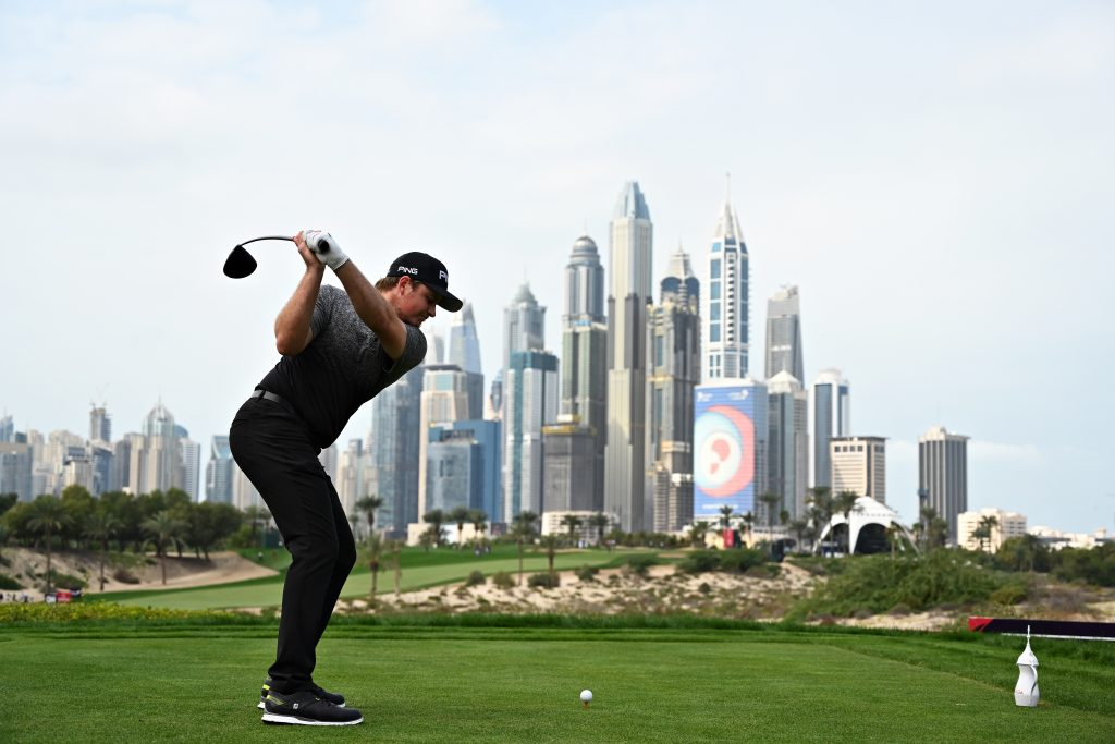 EDDIE PEPPERELL led the 2020 Omega Dubai Desert Classic after two rounds