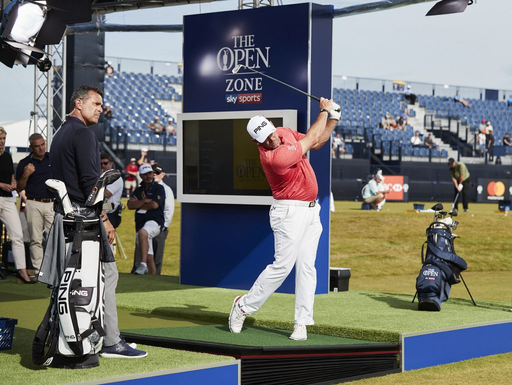 Lee Westwood on the Zen Green Stage in Sky Sports' Open Zone at Royal Birkkdale during the 2017 Open Championship