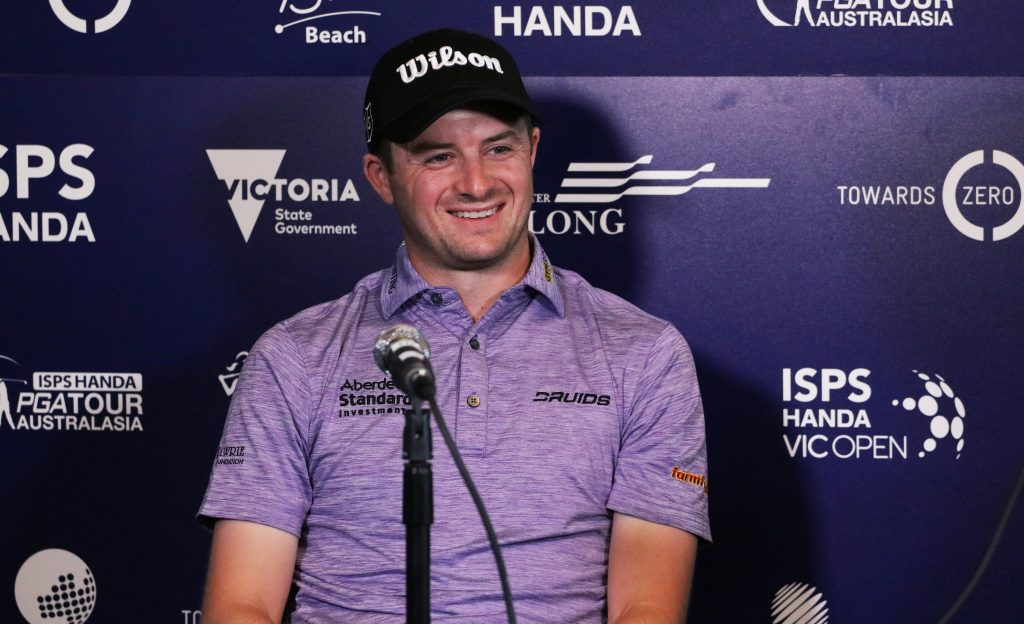 David Law, the defending champion in the men's event at the 2020 ISPS Handa Vic Open, at Australia's 13th Beach Golf Links