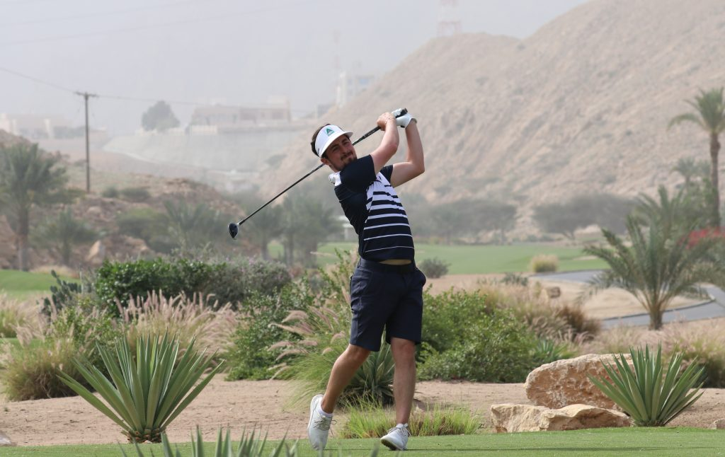 Kent's Alfie Plant playing in the second round of the 2020 Ghala Open on the MENA Tour, in Muscat, Oman