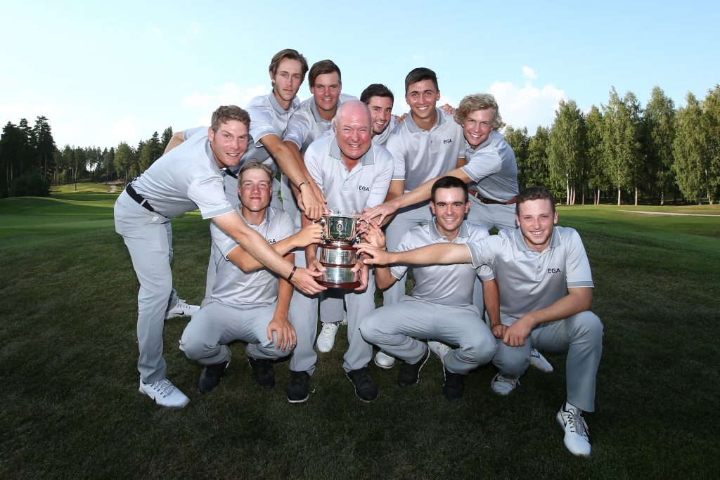The 2018 Continental Europe team that won the St Andrews Trophy beating Great Britain and Ireland at Linna Golf, in Finland