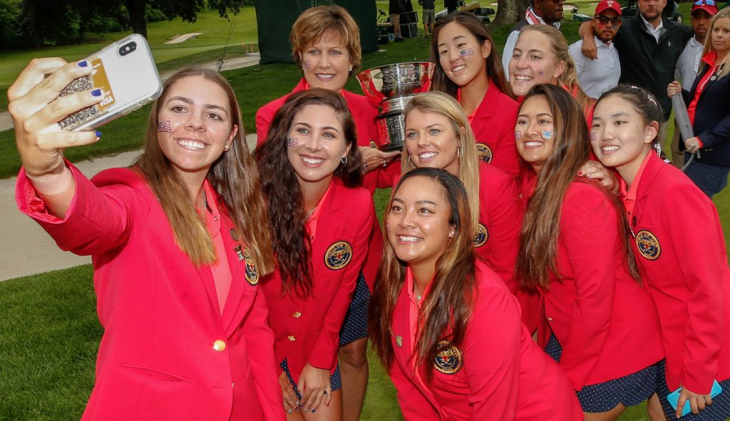 The winning USA team at the 2018 Curtis Cup at Quaker Ridge