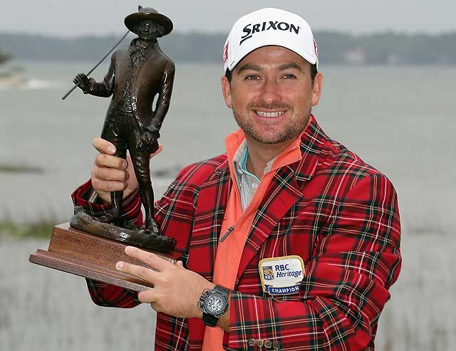 Graeme McDowell travelled back from the RBC Heritage at Harbour town with caddy Ken Comboy