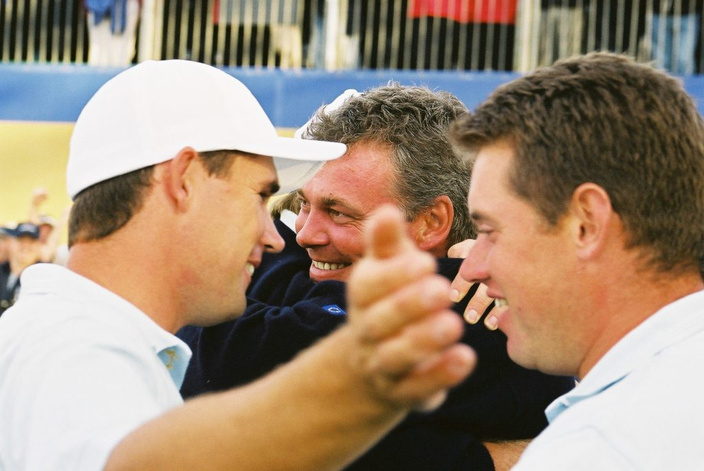 Padraig Harrington, Darren Clarke and Lee Westwood celebrate winning the 2002 Ryder Cup at The Belfry. All three have been a vice-captain for Europe