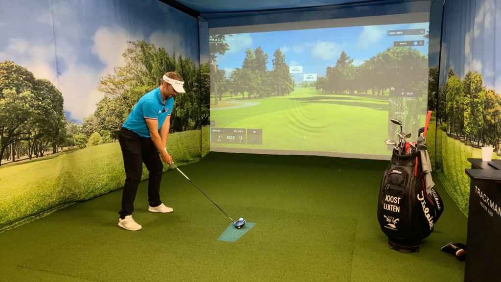 2020 BMW Indoor Invitational winner Joost Luiten, who shot a six-under par 66 on the Old Course at St Andrews, on a golf simulator