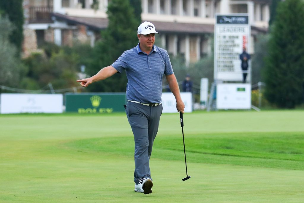 Ross McGowan after holing the winning putt at the 2020 Italian Open