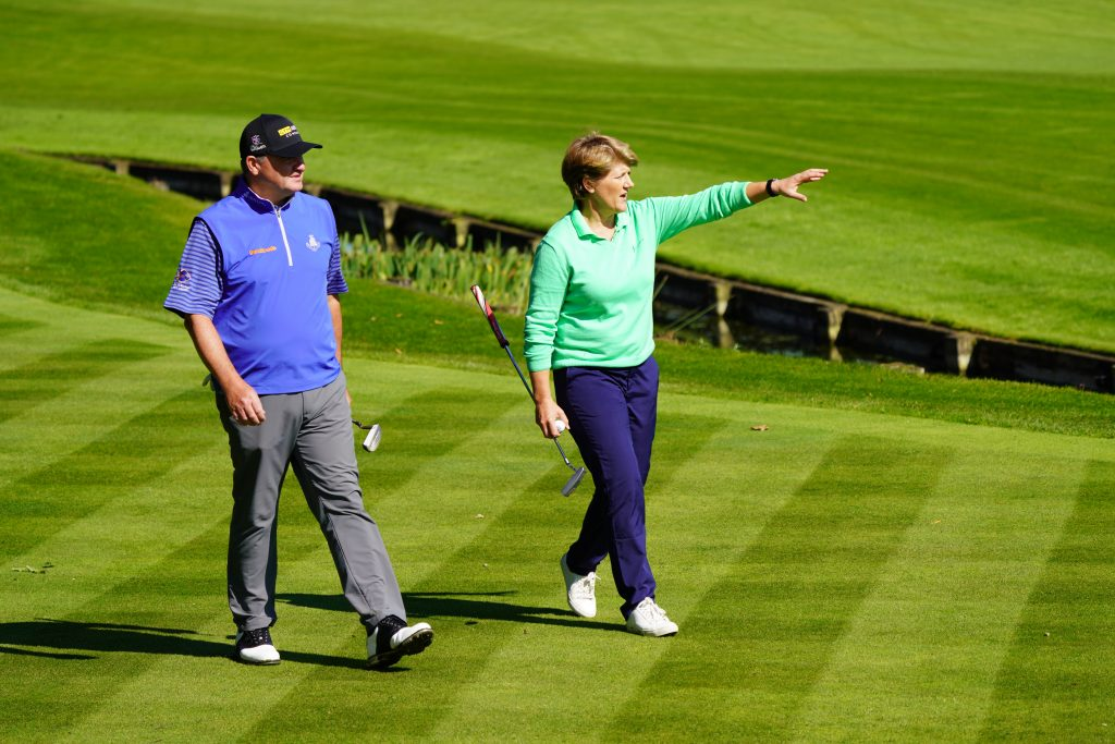 Paul Lawrie and Claire Balding at the launch of the European Legends Tour at Wentworth