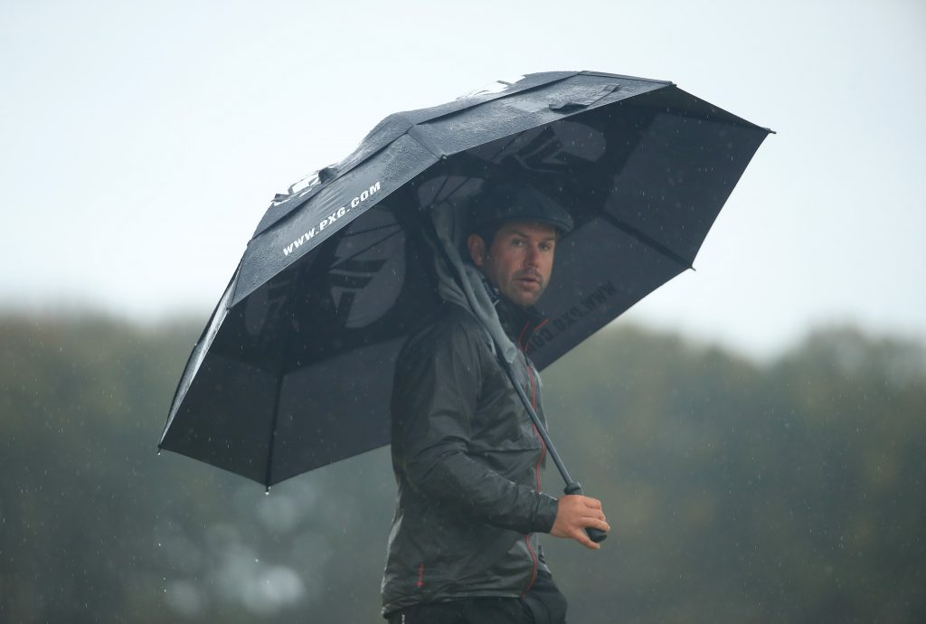 Robert Rock playing during the weather hit third round of the 2020 Aberdeen Standard Investments Scottish Open at The Renaissance Club