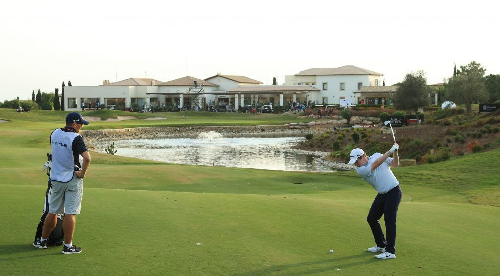 Robert MacIntyre playing his second shot into the 18th in the final round of the 2020 Aphrodite Hills Cyprus Showdown
