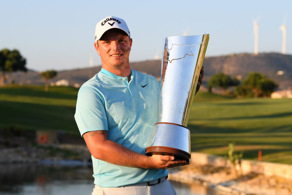 Callum Shinkwin won the 2020 Aphrodite Hills Cyprus Open at the PGA National course, beating Finland's Kalle Samooja in a play-off
