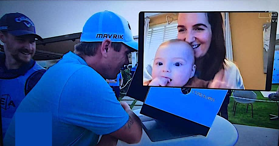 Callum Shinkwin talks to his son via a videolink after his play-off win in the 2020 Aphrodite Hills Cyprus Open